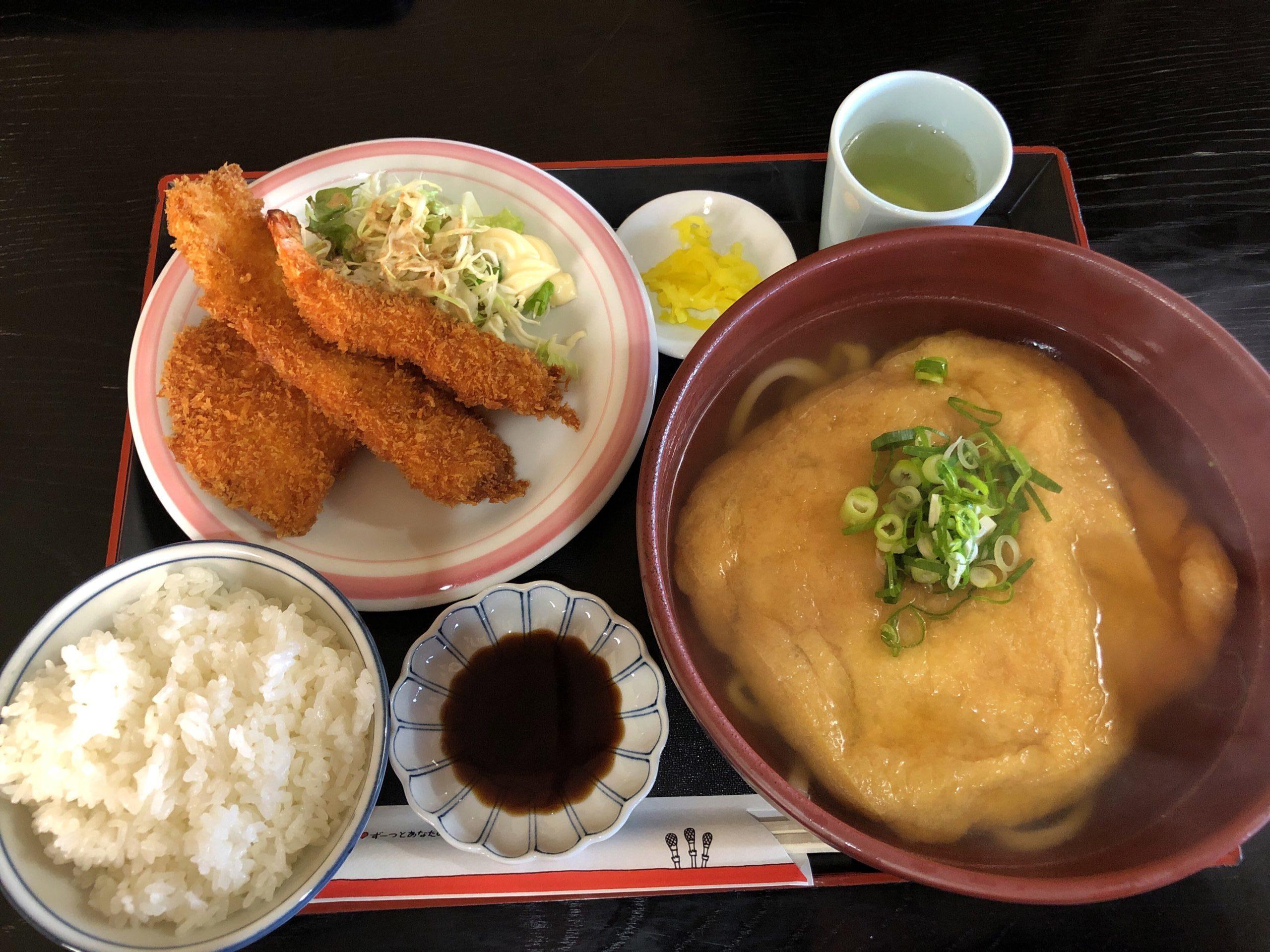 吉野川市川島町「手打ちうどん・いろは」きつねうどん定食にビックリ